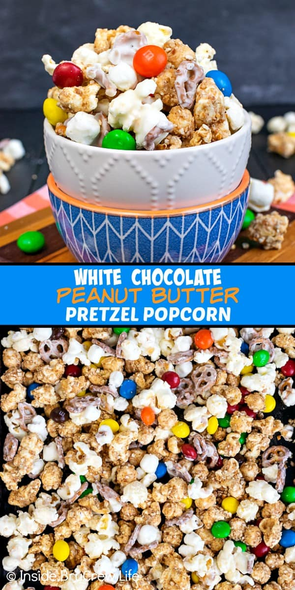 White Chocolate Peanut Butter Pretzel Popcorn - this easy chocolate covered popcorn is loaded with marshmallows, pretzels, and peanut butter candies. Great recipe to make and snack on during movie nights or game days! #popcorn #chocolatecoveredpopcorn #whitechocolate #peanutbutter #pretzel #gameday #snackmix #nobake