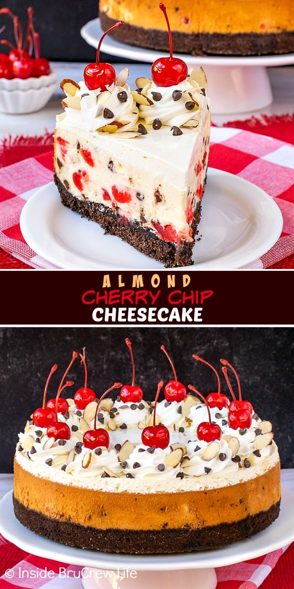 Almond Cherry Chip Cheesecake - this easy chocolate chip cheesecake is loaded with cherries and almond flavoring. Make this recipe for holidays or events. #cheesecake #almond #cherry #chocolatechip #valentinesday #holidaydessert #Christmas