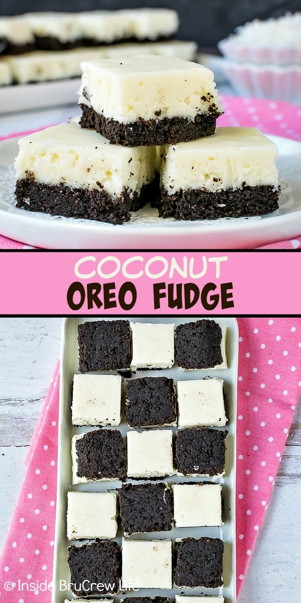 Coconut Oreo Fudge - the Oreo cookie crust makes this easy coconut fudge taste absolutely amazing. Make this easy no bake recipe for spring or summer parties. #fudge #coconut #Oreocookies #nobake #spring #Easter #dessert #coconutcream