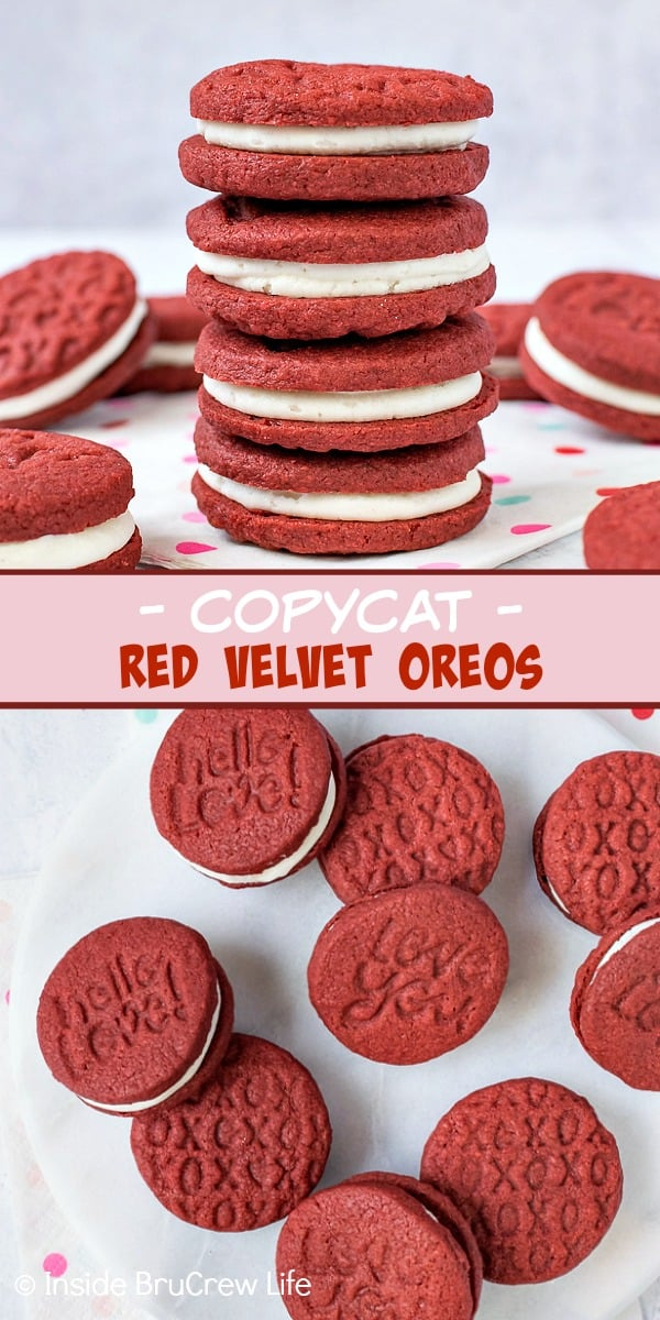 Copycat Red Velvet Oreos - homemade Oreos with a fun red velvet twist makes these a fun sandwich cookie. Make these easy recipe for parties or bake sales. #redvelvet #Oreos #copycat #sandwichcookies #valentinesday #creamfilledcookies