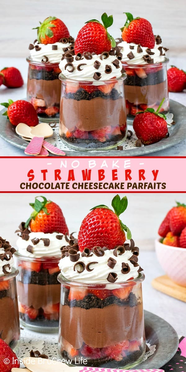 Two pictures of strawberry chocolate cheesecake parfaits collaged together with a pink text box