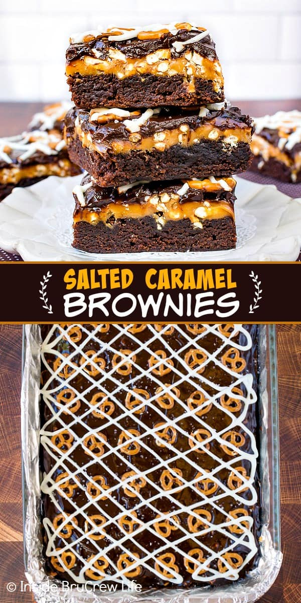 Salted Caramel Brownies - brownies topped with gooey caramel, pretzels, and chocolate makes the best sweet and salty dessert. Make this easy recipe for parties and events. #brownies #saltedcaramel #caramel #pretzels #chocolate #sweetandsalty