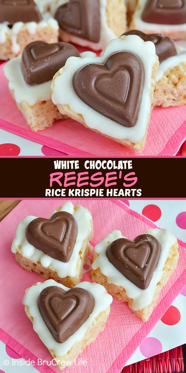 White Chocolate Reese's Krispie Hearts - adding white chocolate and a peanut butter cup heart to these rice krispie treats makes them so good. Make this easy no bake recipe for Valentine's day this year. #ricekrispietreats #nobake #peanutbuttercups #heartshapedtreats #valentinesday #reeses