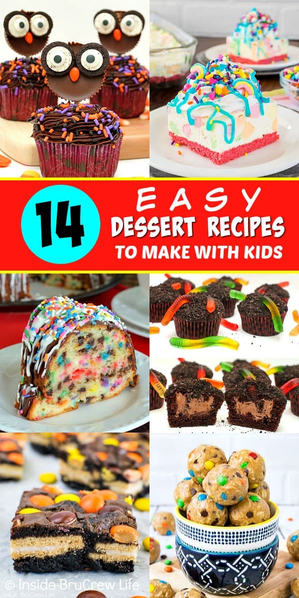 Collage of 6 easy dessert pictures with a red title text block