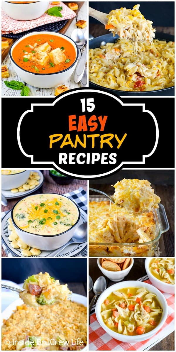 15 Easy Pantry Recipes - these dinner recipes come together quickly using staples you have stocked in your pantry, fridge, and freezer. Make these easy recipes for dinner or use them to prep for emergencies.