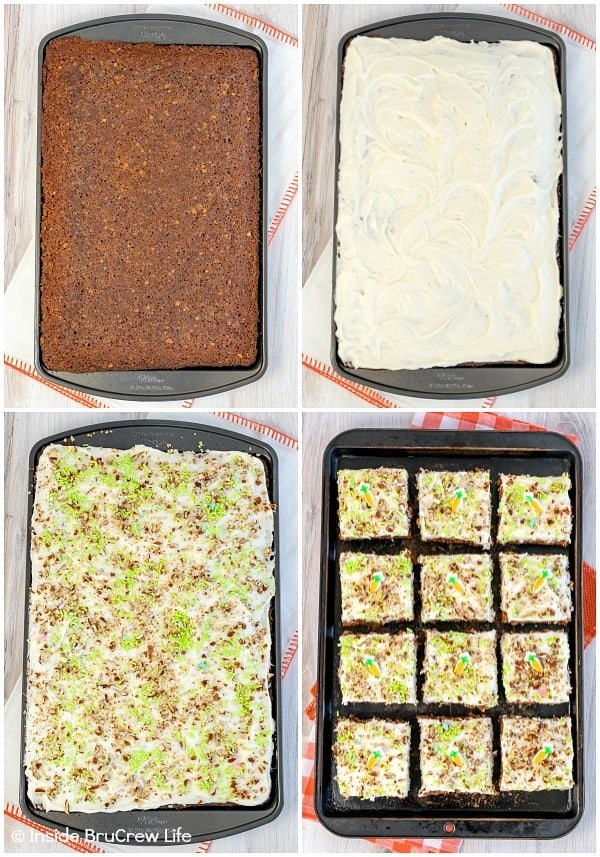 Four pictures grouped together showing how to make and frost carrot cake bars in a sheet pan