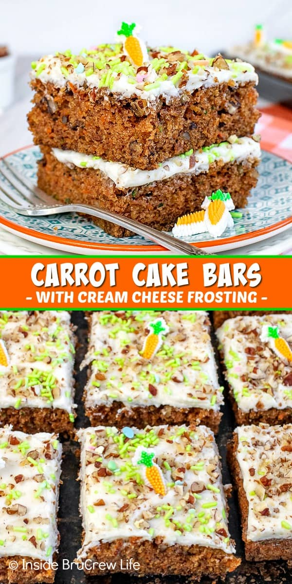 Two pictures of carrot cake bars collaged together with an orange text box