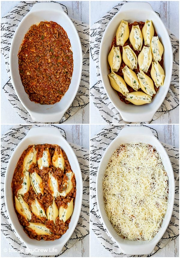 Classic Stuffed Shells - baking a meat sauce and cheese filled pasta shells makes a delicious and easy dinner recipe. It is also a great freezer meal to make for later or to share with others.