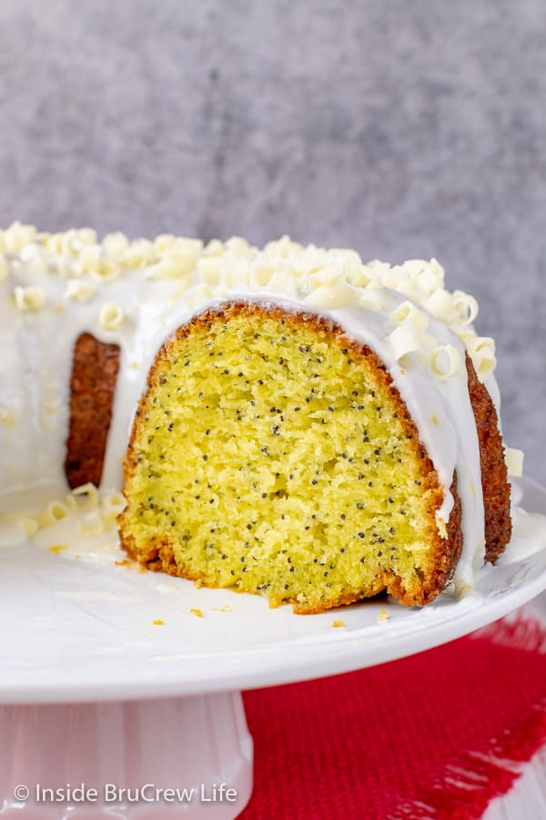 Up close picture of the inside of a lemon bundt cake