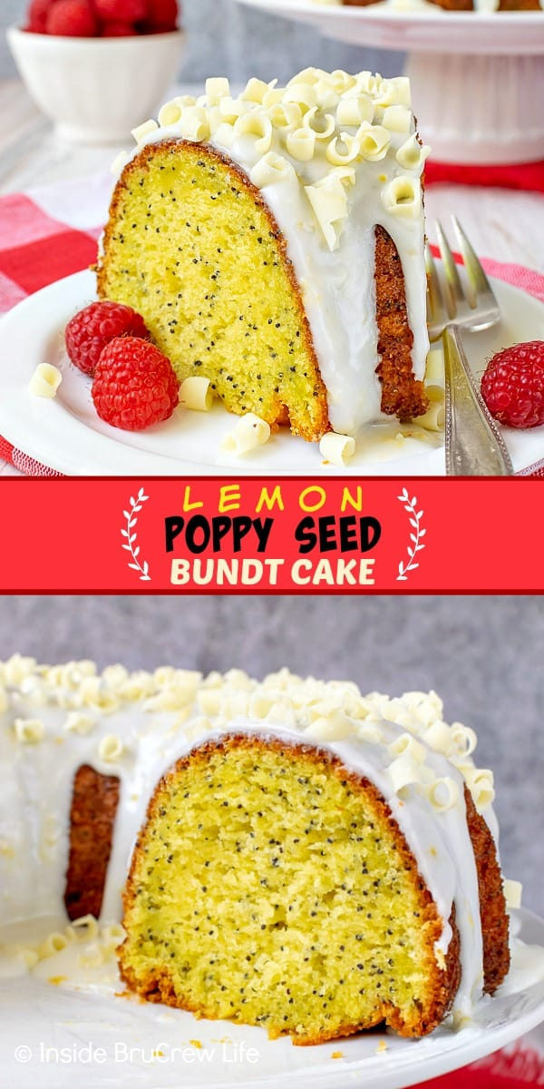 Two pictures of lemon bundt cake collaged together with a red text block