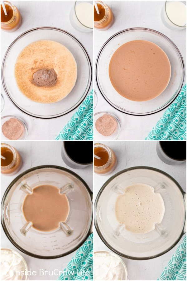 Four pictures collaged together showing how to make a mocha latte in a blender.