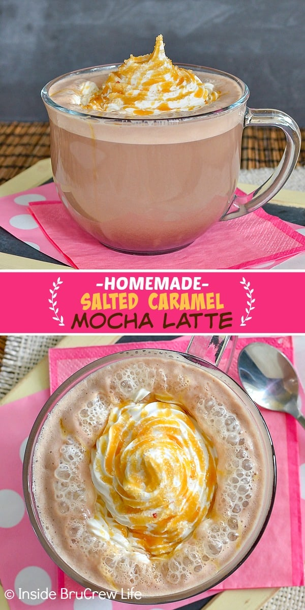 Two pictures of a homemade caramel latte combined with a pink rectangle with the title