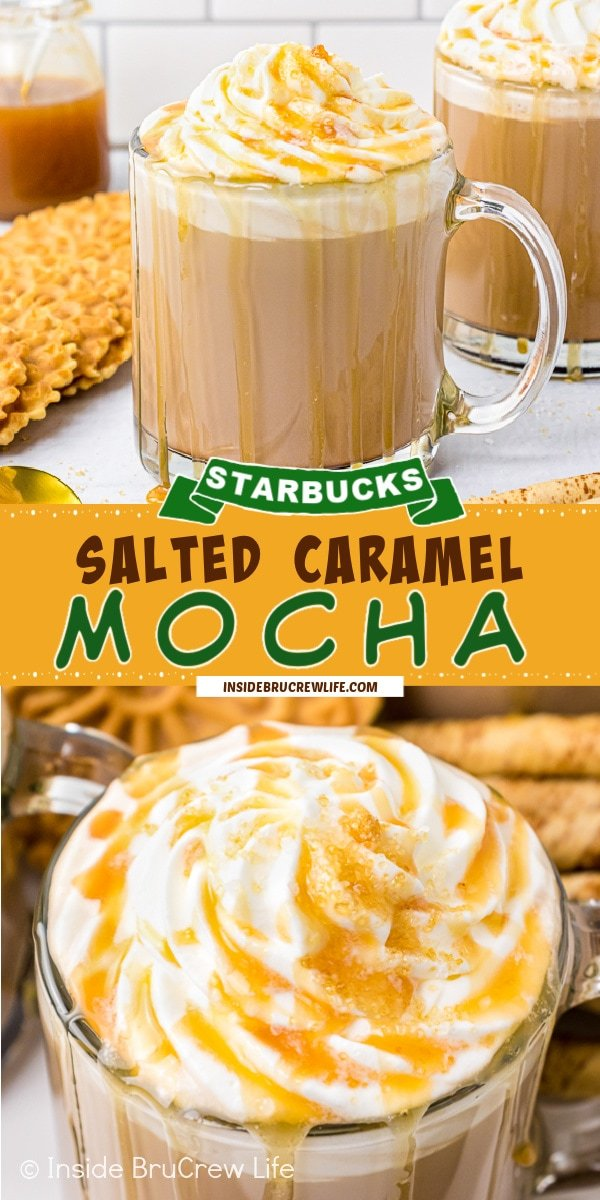 Two pictures of Salted Caramel Mocha collaged together with a yellow text box.