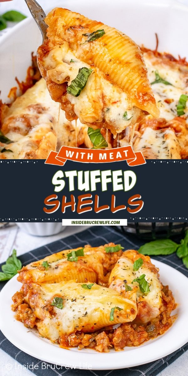 Two pictures of Stuffed Shells with Meat collaged together with a black text box.