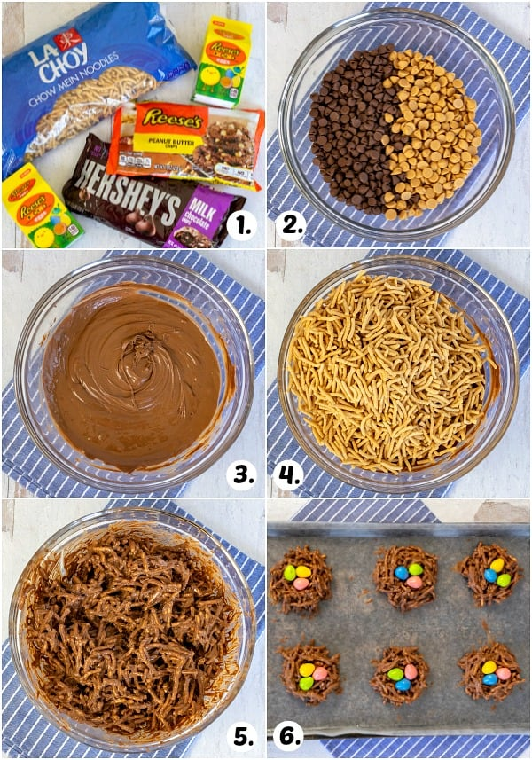 6 different pictures showing how to make nest cookies in one collage