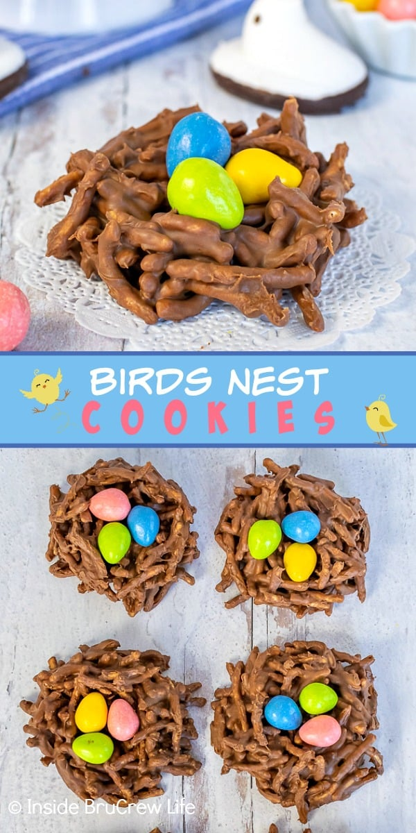 Two pictures of chocolate birds nest cookies collaged together with a blue text box