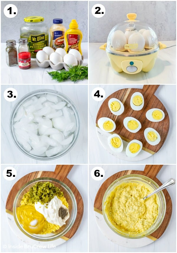 A collage of six pictures showing how to make dill pickle deviled eggs