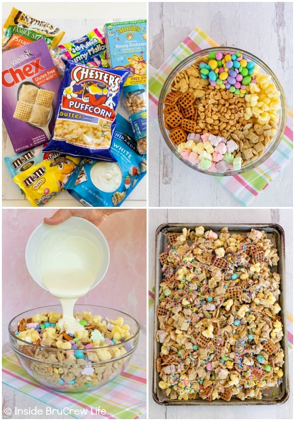 Four pictures collaged together showing how to make an Easter snack mix