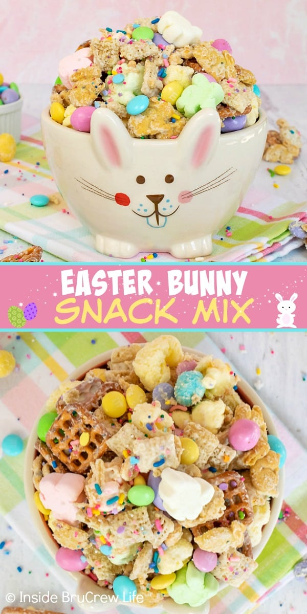Two pictures of Easter snack mix collaged together with a pink text block
