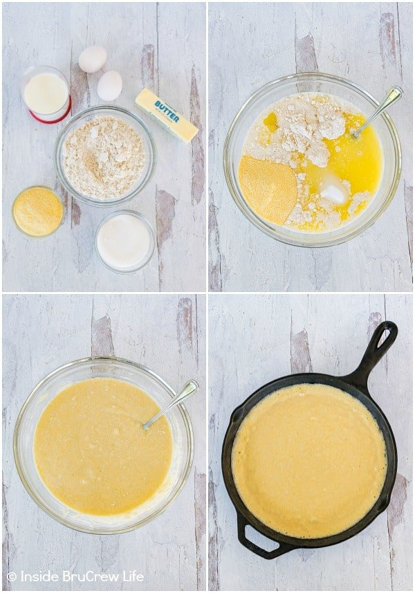 Four pictures of how to make easy skillet cornbread collaged together