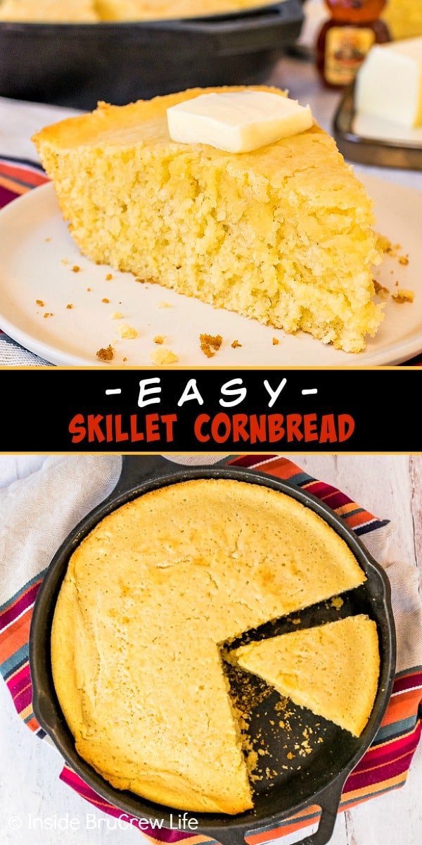 Two pictures of easy skillet cornbread collaged together with a black text box