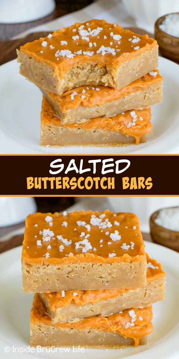 Two pictures of salted butterscotch bars collaged together with a brown text box