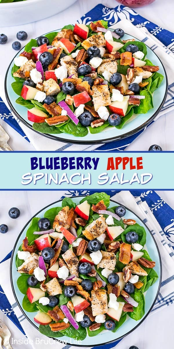 Two pictures of Blueberry Apple Spinach Salad collaged together with a blue text box