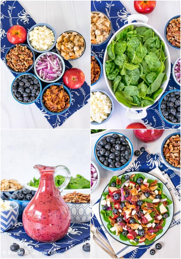 A collage of four pictures showing bowls of spinach, salad toppings, and homemade blueberry dressing
