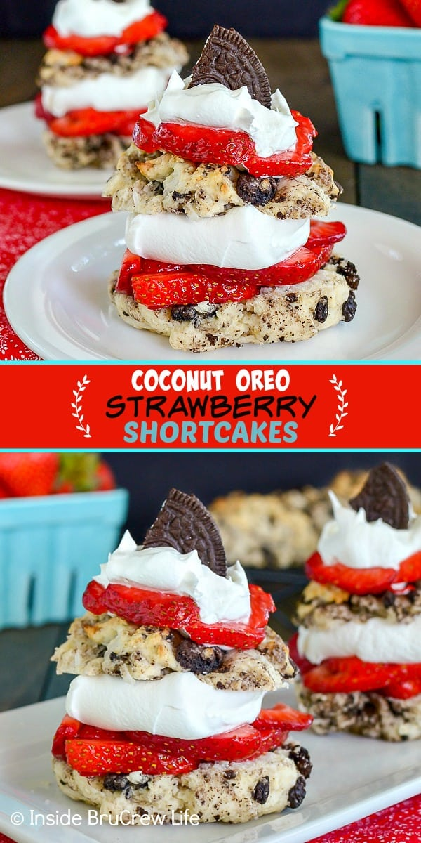 Two pictures of Coconut Oreo Strawberry Shortcakes collaged together with a red text box
