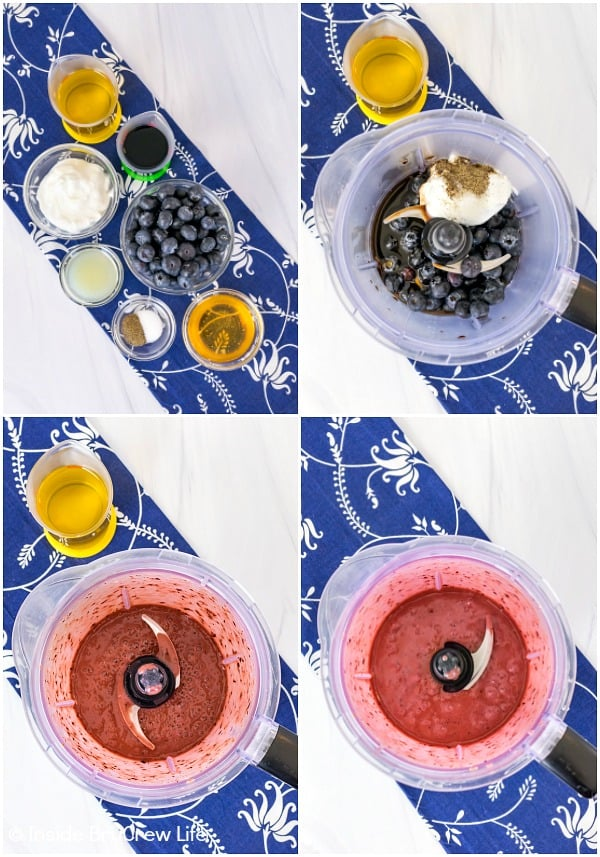Collage of four photos showing how to make Blueberry Balsamic Salad Dressing