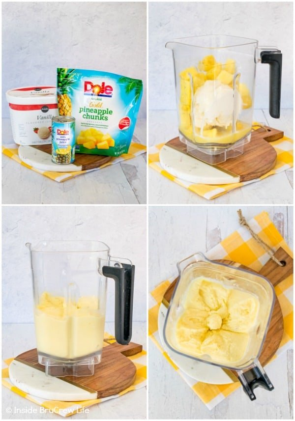 Four pictures showing how to make a Disney Dole Whip