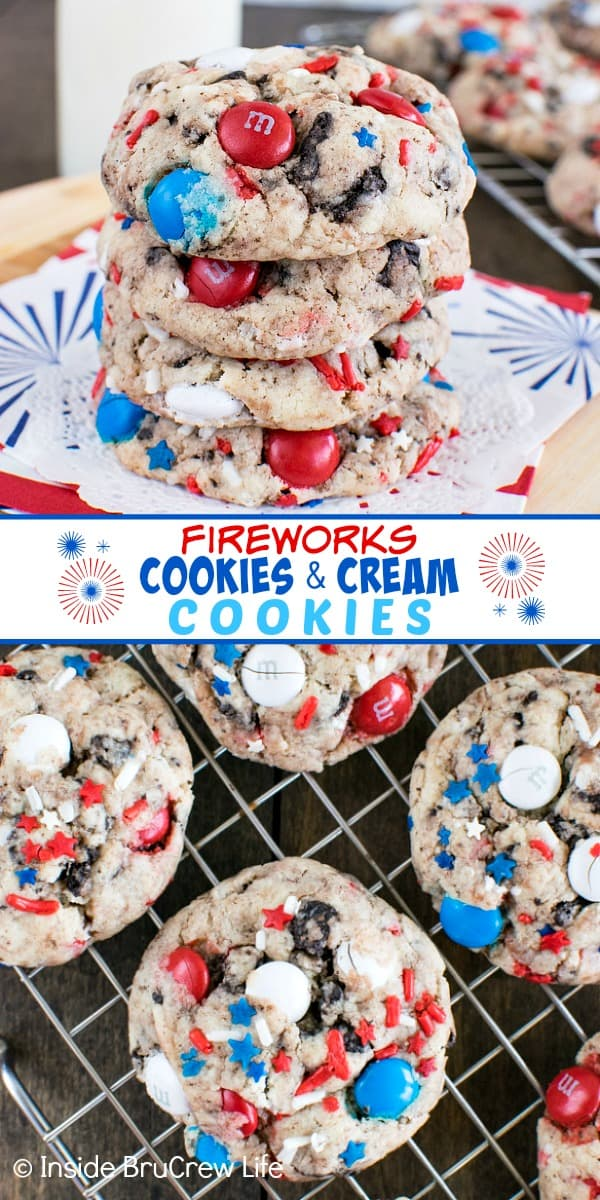 Two pictures of Fireworks Cookies and Cream collaged together with a white text box