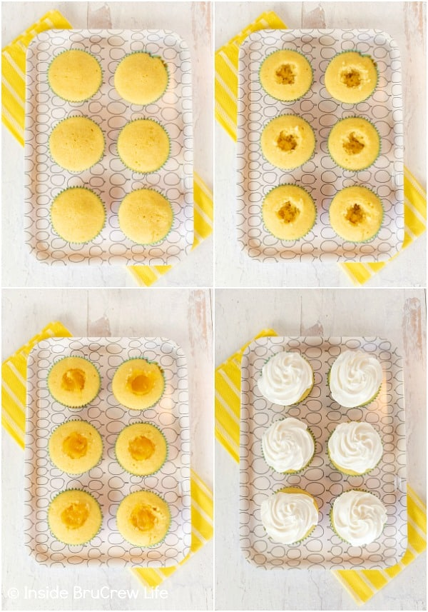 Four pictures of lemon meringue cupcakes collaged together showing the process of removing and filling the centers