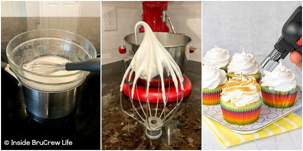 Three pictures together showing how to make and beat Fluffy Meringue Frosting and add it to cupcakes