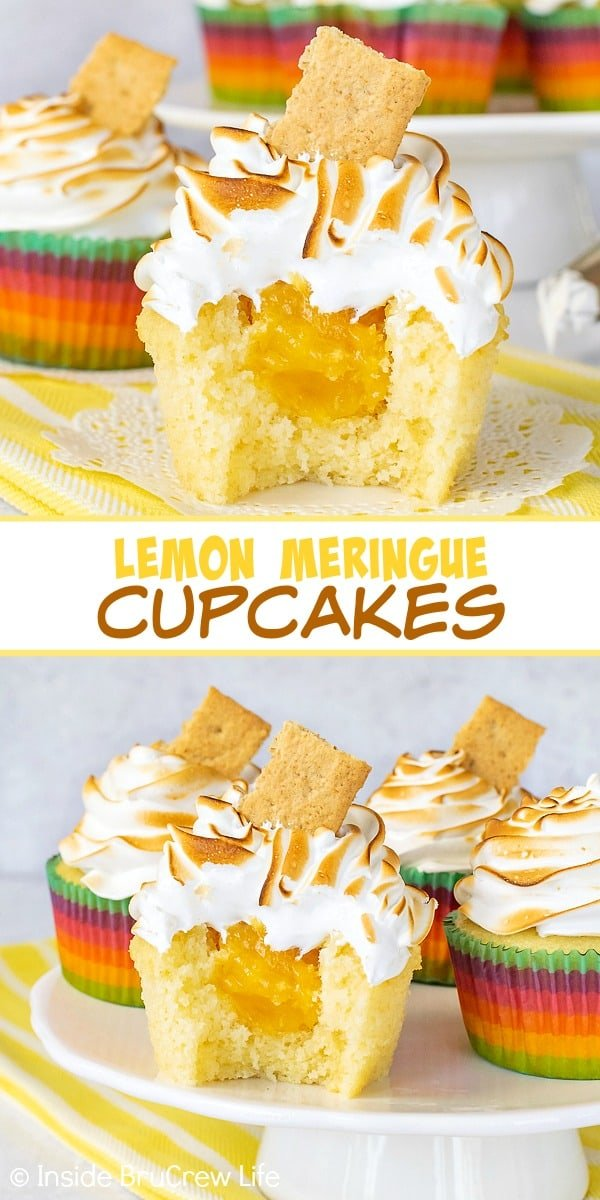 Two pictures of lemon meringue cupcakes collaged together with a white text box