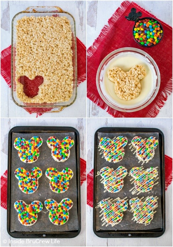 A collage of four photos showing how to cut Mickey Mouse rice krispie treats and decorate them with chocolate and candies