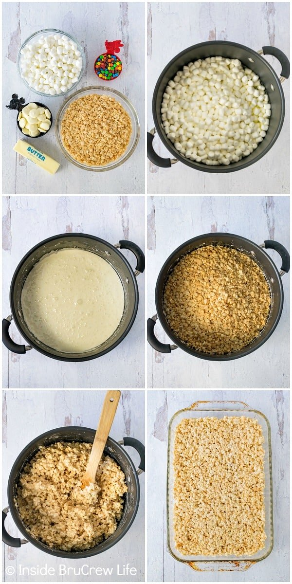 A collage of 6 photos showing the stages of making rice krispie treats