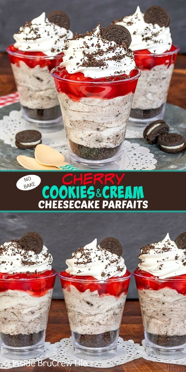 Two pictures of cherry cookies and cream cheesecake parfaits collaged together with a brown text box