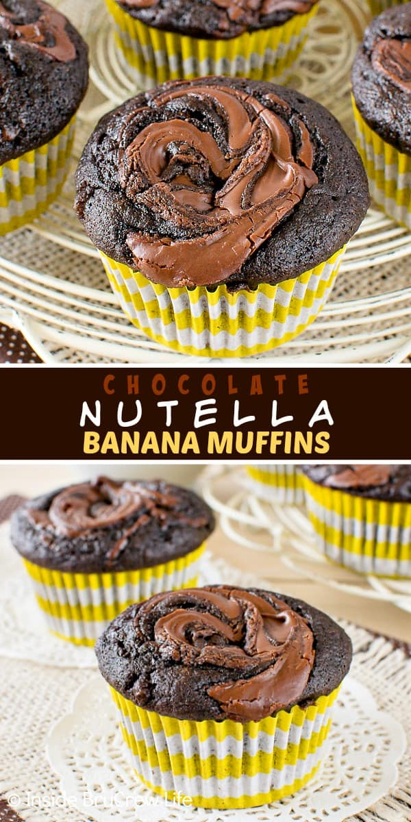 Two pictures of Chocolate Nutella Banana Muffins collaged together with a dark brown text box