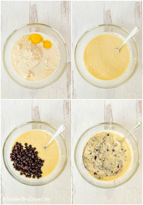 Four pictures showing how to make the batter for blueberry pancakes