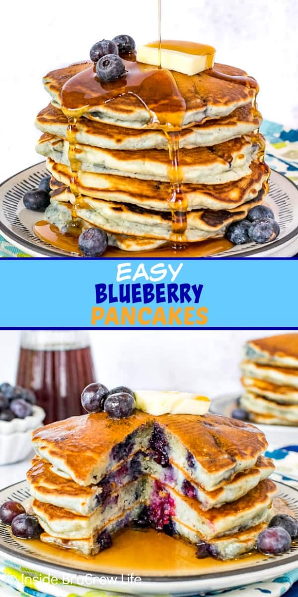 Two pictures of blueberry pancakes collaged together with a blue text box