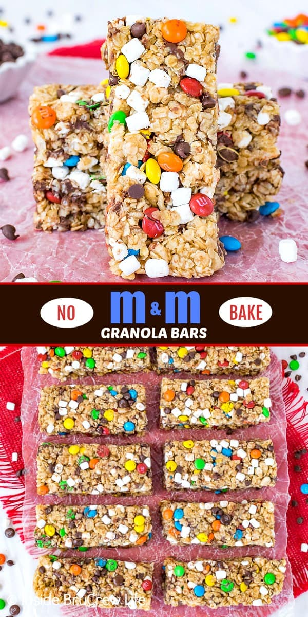 Two pictures of no bake M&M granola bars collaged together with a brown text box