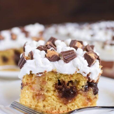 Peanut Butter Fudge Poke Cake