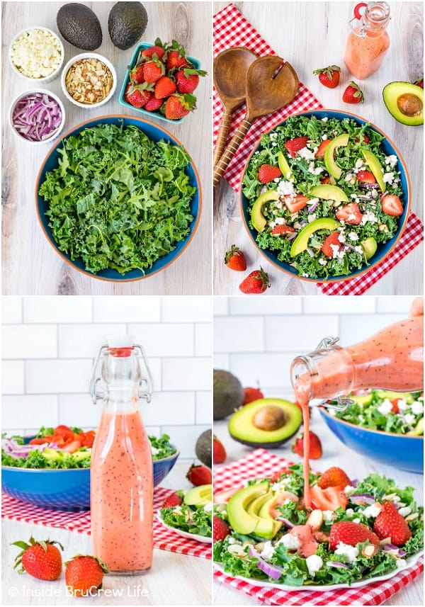 Four pictures of strawberry avocado kale salad collaged together