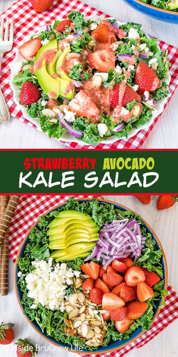 Two pictures of strawberry avocado kale salad collaged together with a green text box