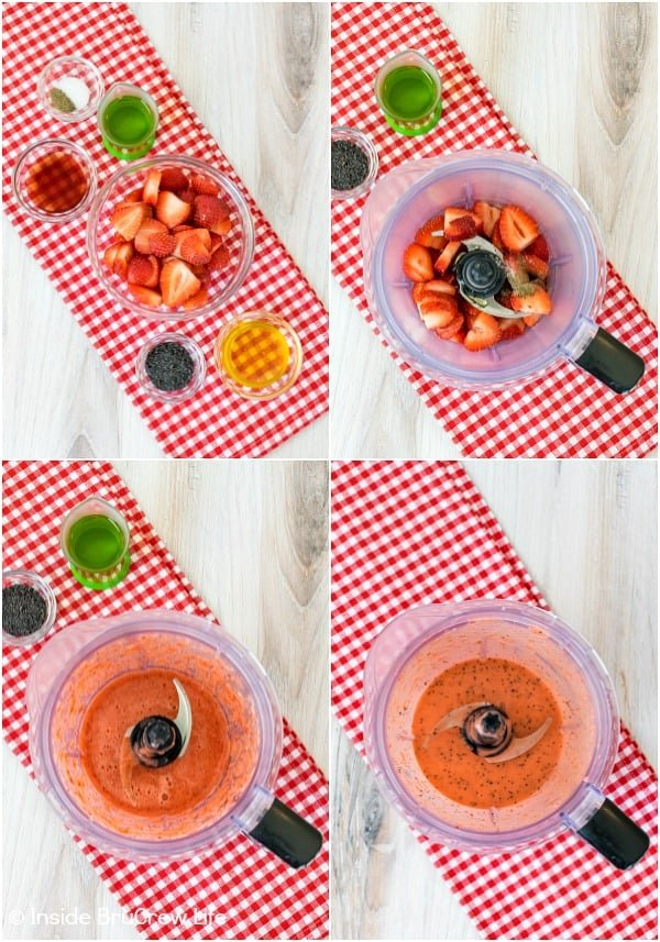 Four pictures showing how to make strawberry poppy seed salad dressing collaged together