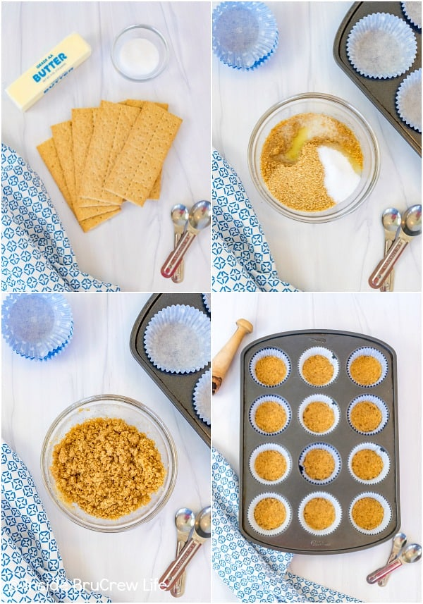 Four pictures collaged together showing how to make mini cheesecake crusts