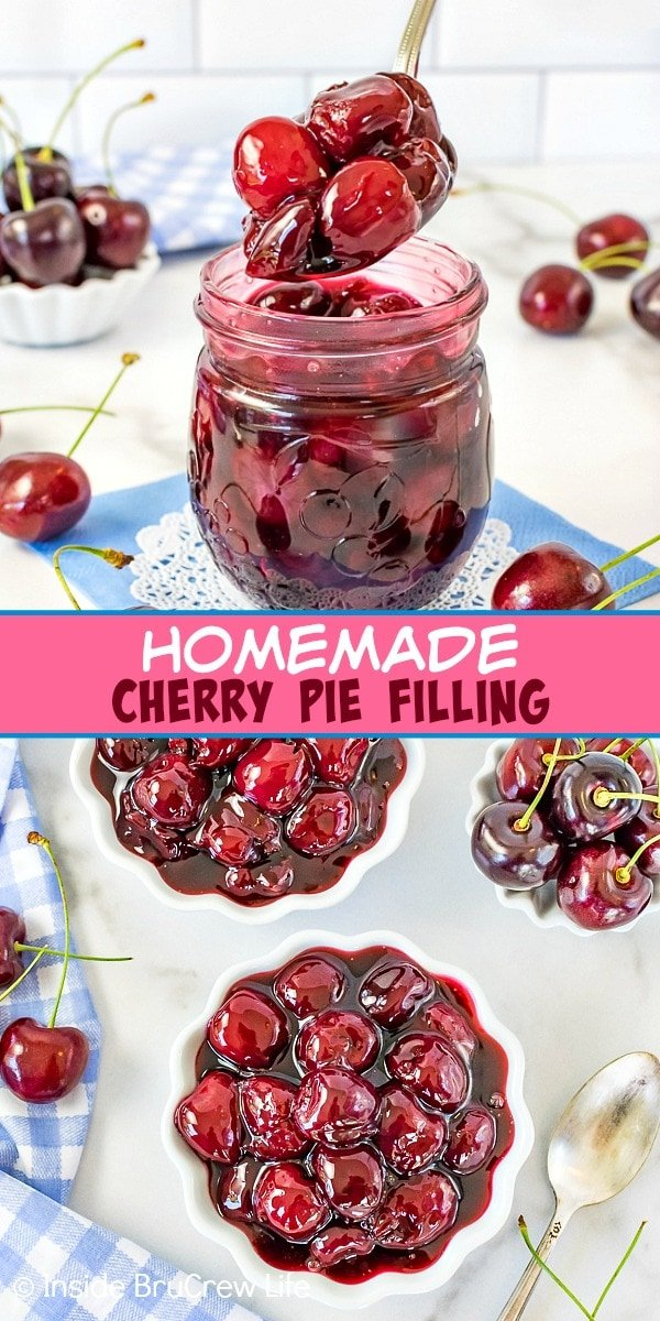 Two pictures of homemade cherry pie filling collaged together with a pink text box