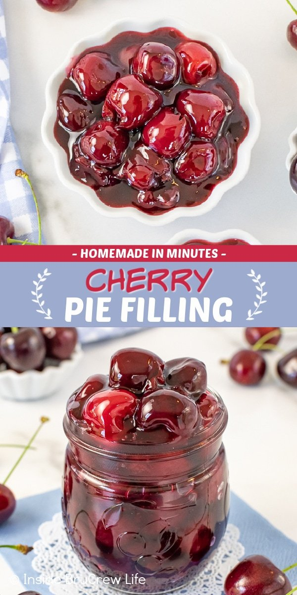 Two pictures of Cherry Pie Filling collaged together with a blue text box