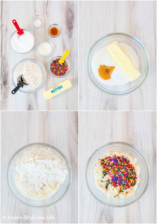 Four pictures collaged together showing how to make an edible cookie dough loaded with sprinkles